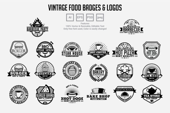 20 Retro-Food-Badges Grafik Logos von octopusgraphic