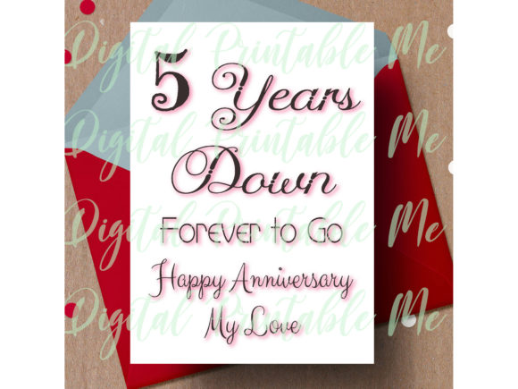 Download Free 5th Anniversary Card Fifth Five Year Graphic By for Cricut Explore, Silhouette and other cutting machines.