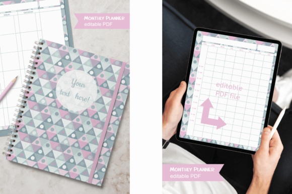 Download Free Blue Pastel Monthly Planner Editable Graphic By Print Cut Hang for Cricut Explore, Silhouette and other cutting machines.