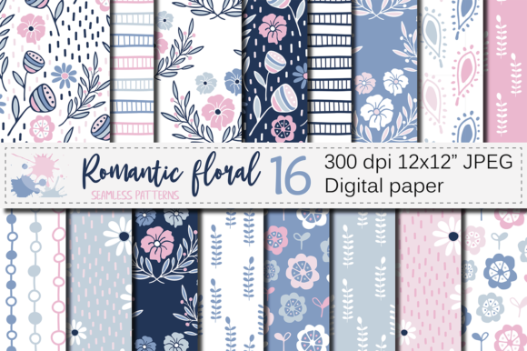 Blue and Pink Floral Seamless Patterns Graphic Patterns By VR Digital Design