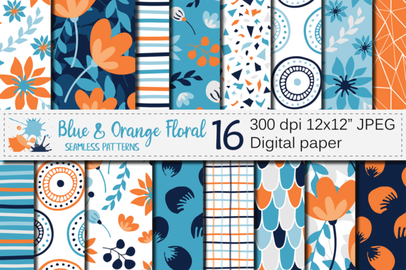 Download Free Blue And Orange Floral Seamless Patterns Graphic By Vr Digital for Cricut Explore, Silhouette and other cutting machines.