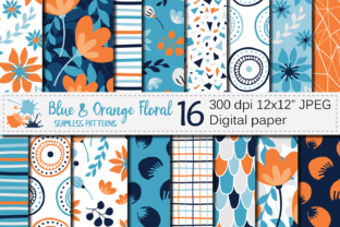 Blue and Orange Floral Seamless Patterns Graphic Patterns By VR Digital Design
