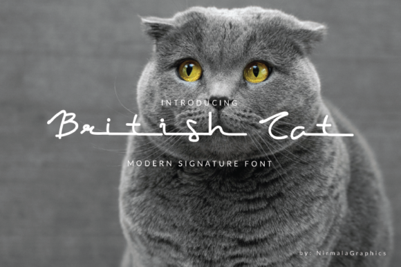 Print on Demand: British Cat Script & Handwritten Font By nirmala.graphics