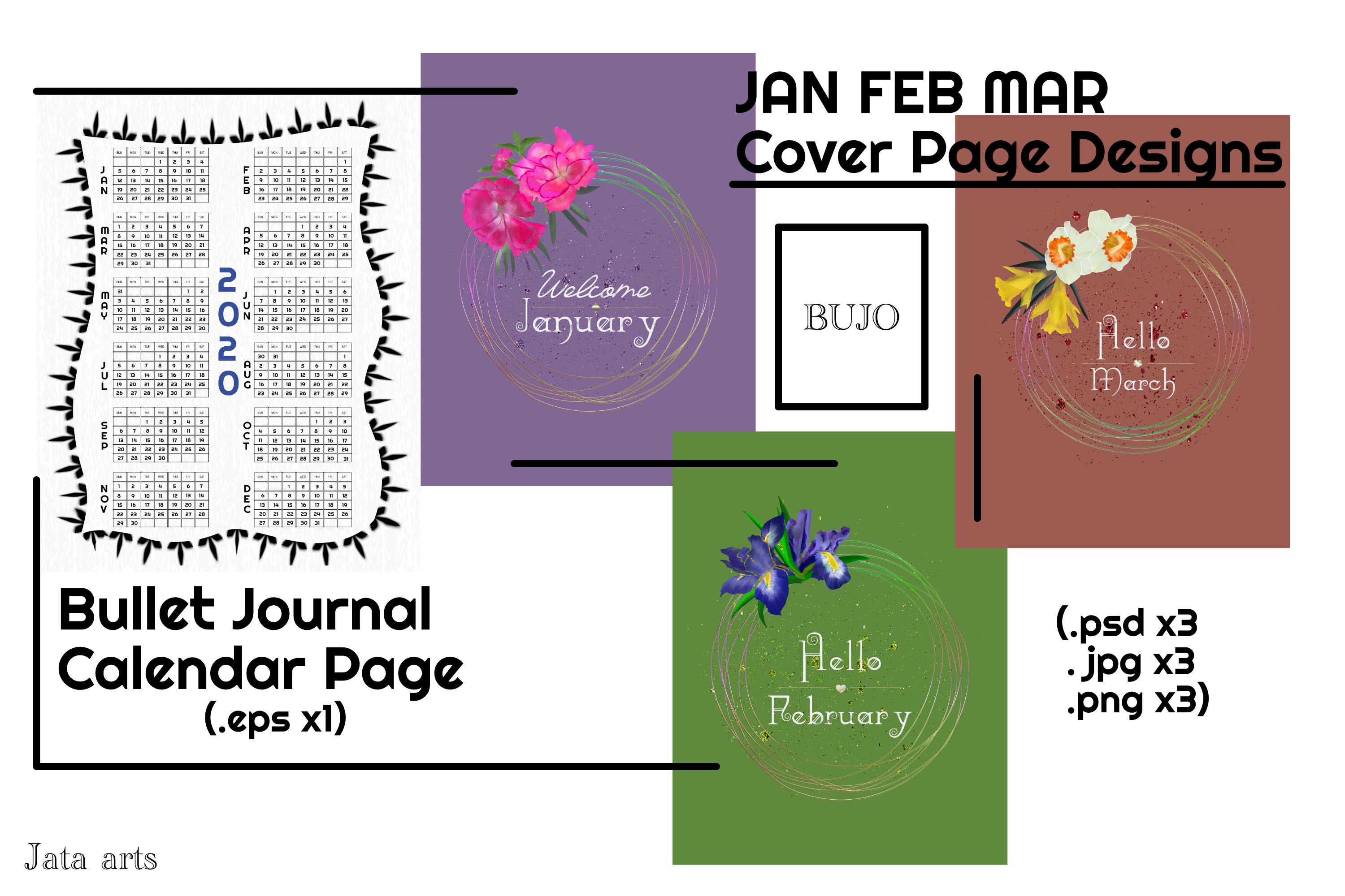 Download Free Bullet Journal Calendar And Cover Pages Graphic By Jata Arts for Cricut Explore, Silhouette and other cutting machines.