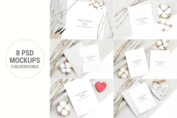 Print on Demand: Card Mockup Set with Cotton and Branches Graphic Product Mockups By PawMockup