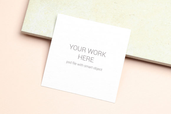 Print on Demand: Card Mockup on Beige Background Graphic Product Mockups By PawMockup