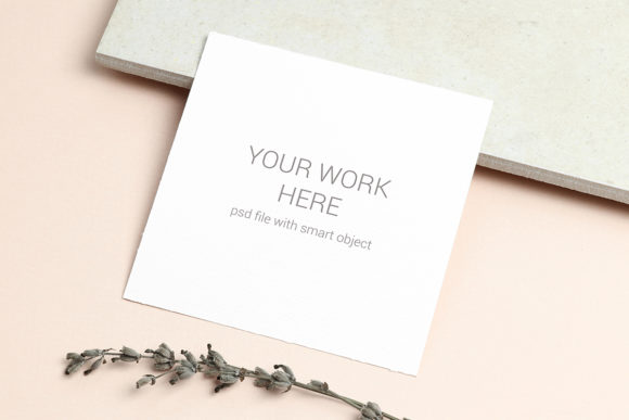 Print on Demand: Card Mockup with Lavender Graphic Product Mockups By PawMockup
