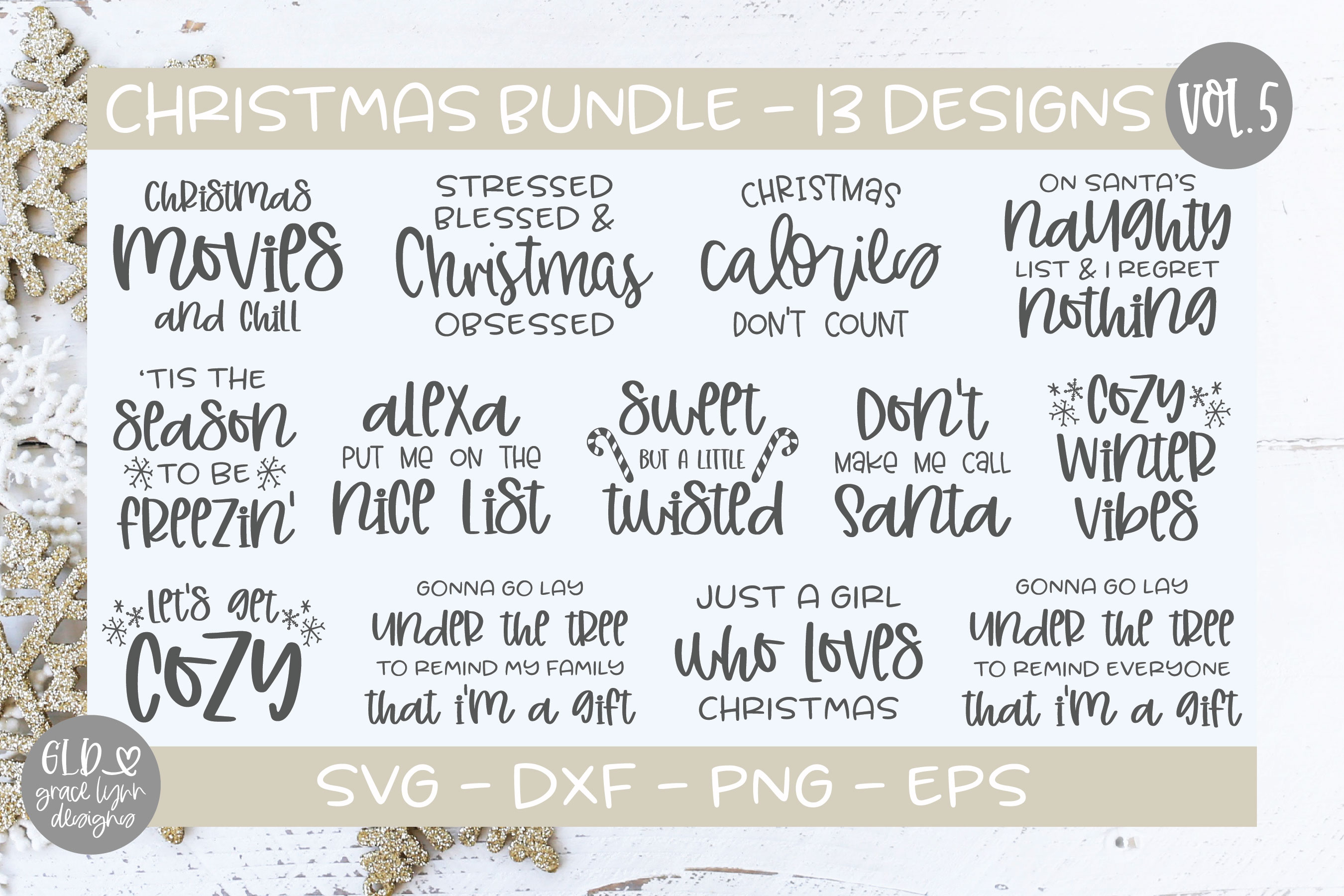 Download Free Christmas Bundle Vol 5 Graphic By Gracelynndesigns Creative for Cricut Explore, Silhouette and other cutting machines.