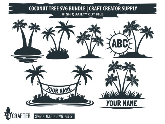 Download Free Coconut Tree Bundle Graphic By Great19 Creative Fabrica for Cricut Explore, Silhouette and other cutting machines.