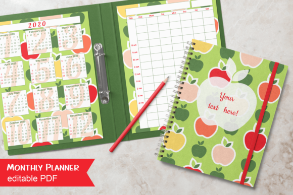 Print on Demand: Colorful Apples Undated Monthly Planner Graphic Print Templates By print.cut.hang