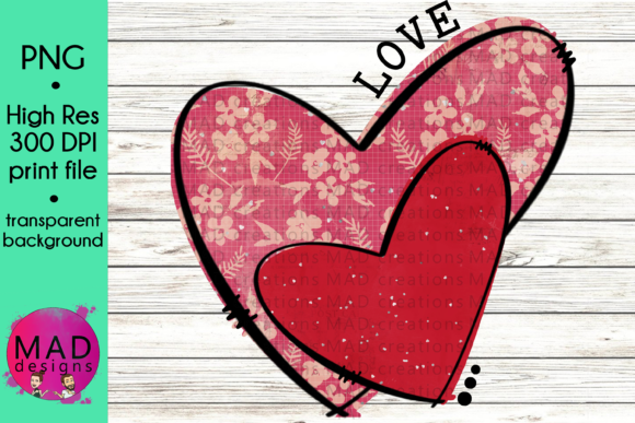 Colorful Valentine Hearts Pink and Red Graphic Crafts By maddesigns718 - Image 1