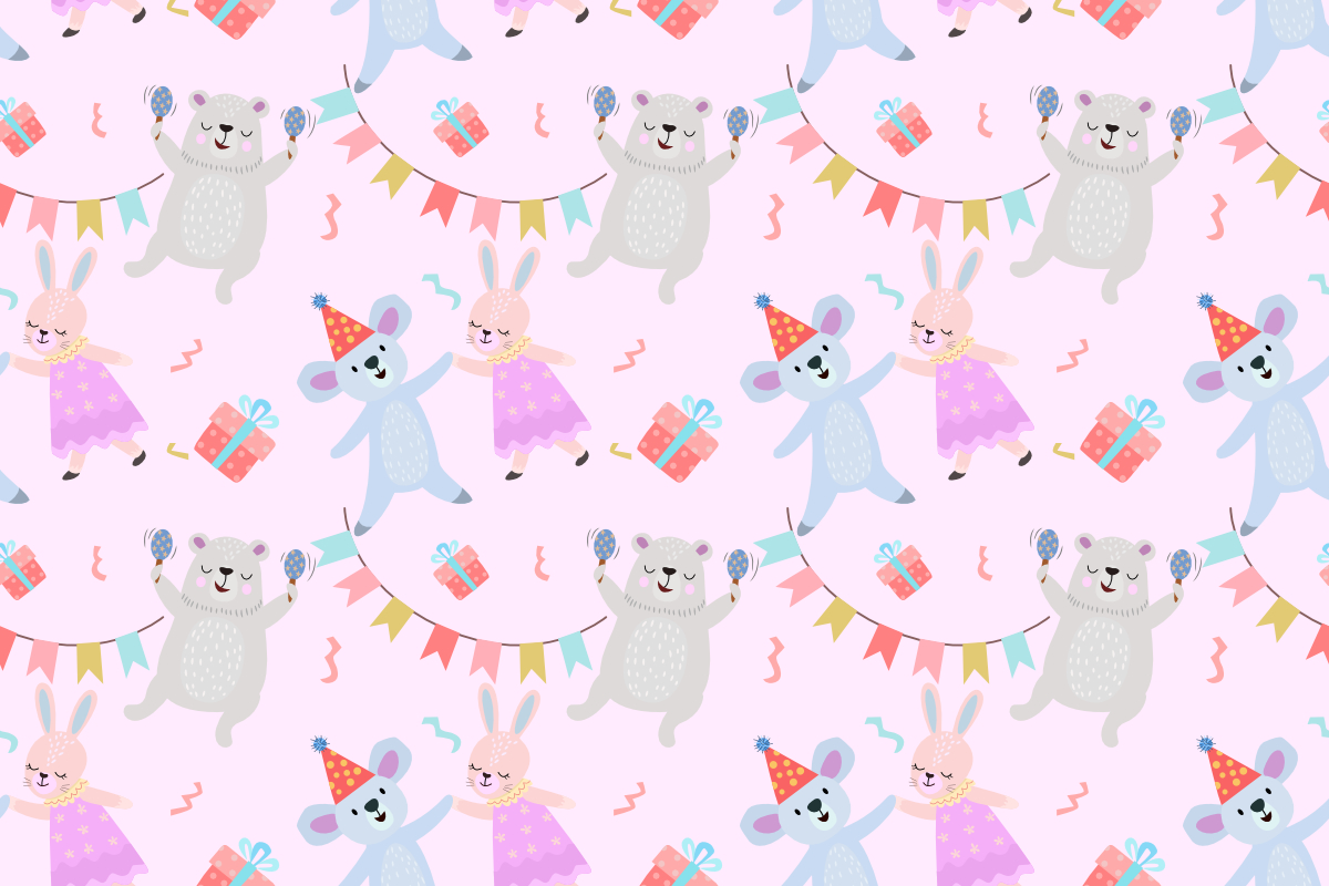 Download Free Cute Animal Party Seamless Pattern Graphic By Ranger262 for Cricut Explore, Silhouette and other cutting machines.