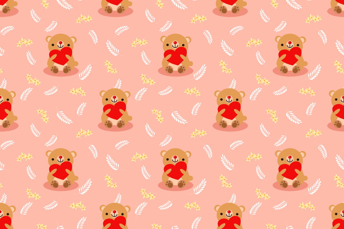 Download Free Cute Bear Hold Red Heart Seamless Graphic By Thanaporn Pinp for Cricut Explore, Silhouette and other cutting machines.