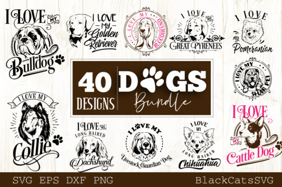 Download Free Dogs Bundle 40 Designs Graphic By Blackcatsmedia Creative Fabrica for Cricut Explore, Silhouette and other cutting machines.