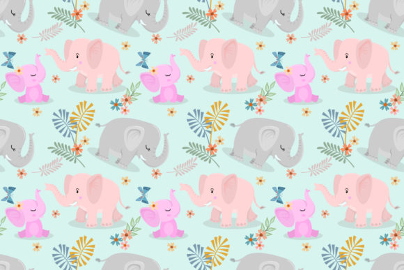 Download Free Elephant Family And Butterfly Pattern Graphic By Ranger262 Creative Fabrica for Cricut Explore, Silhouette and other cutting machines.
