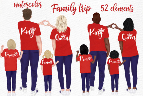 Family Clip Art Parents and Kids Graphic Illustrations By LeCoqDesign - Image 1