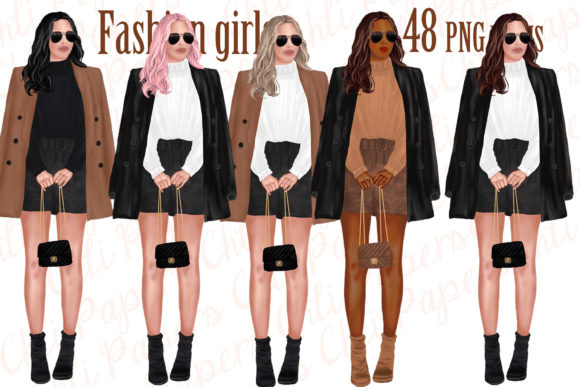 Fashion Girls Clipart,Fab Girls Clipart Graphic Illustrations By ChiliPapers - Image 1
