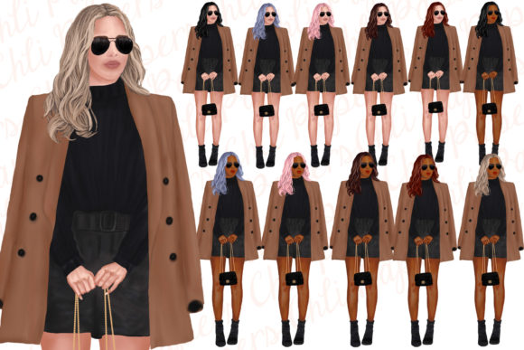 Fashion Girls Clipart,Fab Girls Clipart Graphic Illustrations By ChiliPapers - Image 2