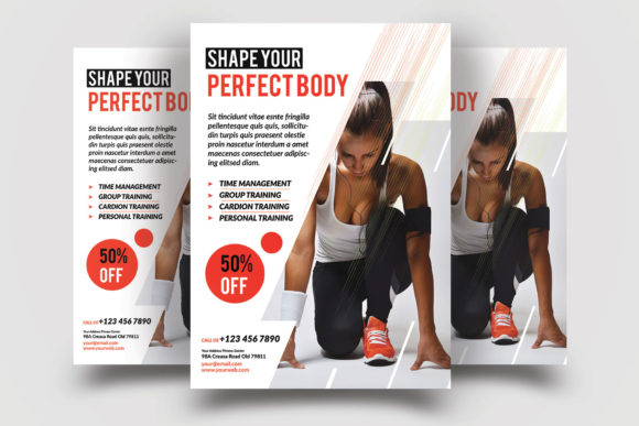 Print on Demand: Fitness Flyer Template Graphic Print Templates By graphicidenic