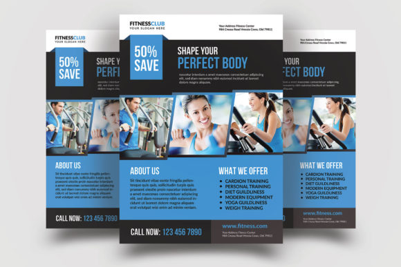Print on Demand: Fitness Flyer Template Graphic Graphic Templates By graphicidenic