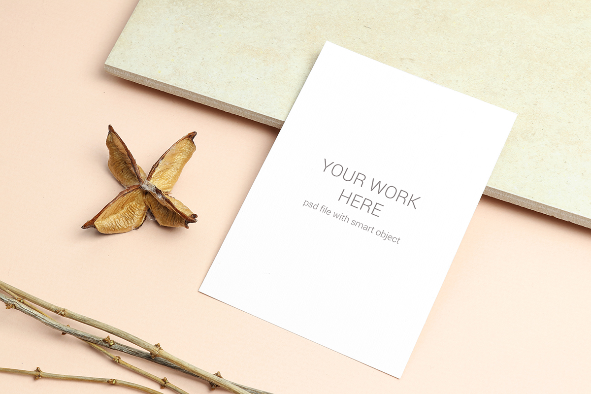 Download Free Flat Lay Mockup Postcard With Branch Graphic By Pawmockup for Cricut Explore, Silhouette and other cutting machines.