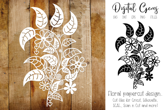 Download Free Flower Papercut Design Graphic By Digital Gems Creative Fabrica for Cricut Explore, Silhouette and other cutting machines.