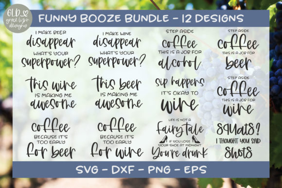 Funny Booze Bundle Graphic Crafts By GraceLynnDesigns