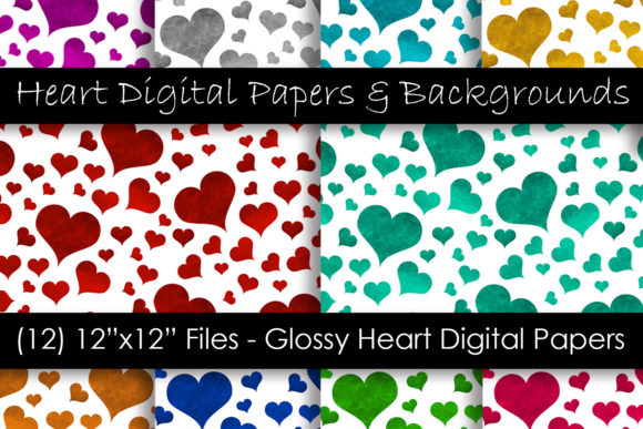 Glossy Color Heart Pattern Backgrounds Gráfico Moldes Por GJSArt