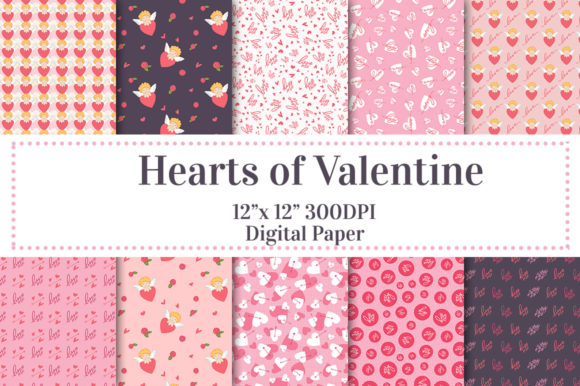 Hearts of Valentines Digital Paper Graphic Patterns By Jennifer Chow