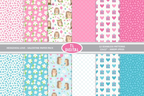 Hedgehog Love Valentines Paper Pack Graphic Patterns By TL Digital