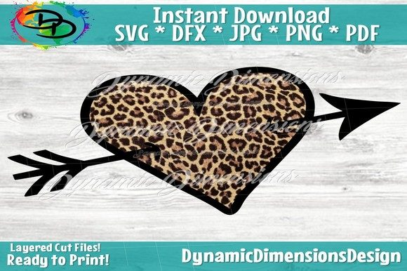 Print on Demand: Leopard Heart Arrow Graphic Crafts By dynamicdimensions