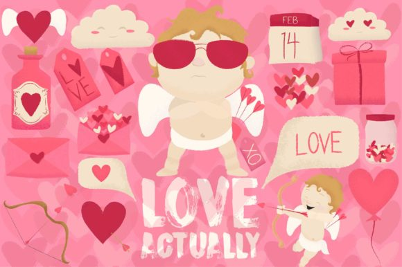 Print on Demand: Love Actually Valentines Day Set Graphic Objects By arausidp
