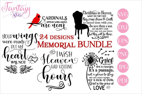 Print on Demand: Memorial Bundle Quotes Gráfico Crafts Por Fantasy SVG