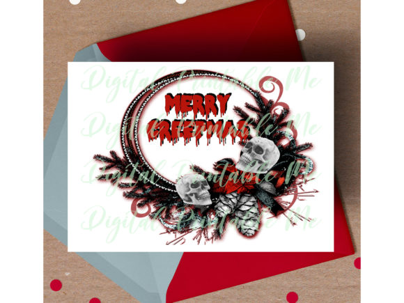 Print on Demand: Merry Creepmas Dark Christmas Card Funny Graphic Print Templates By DigitalPrintableMe