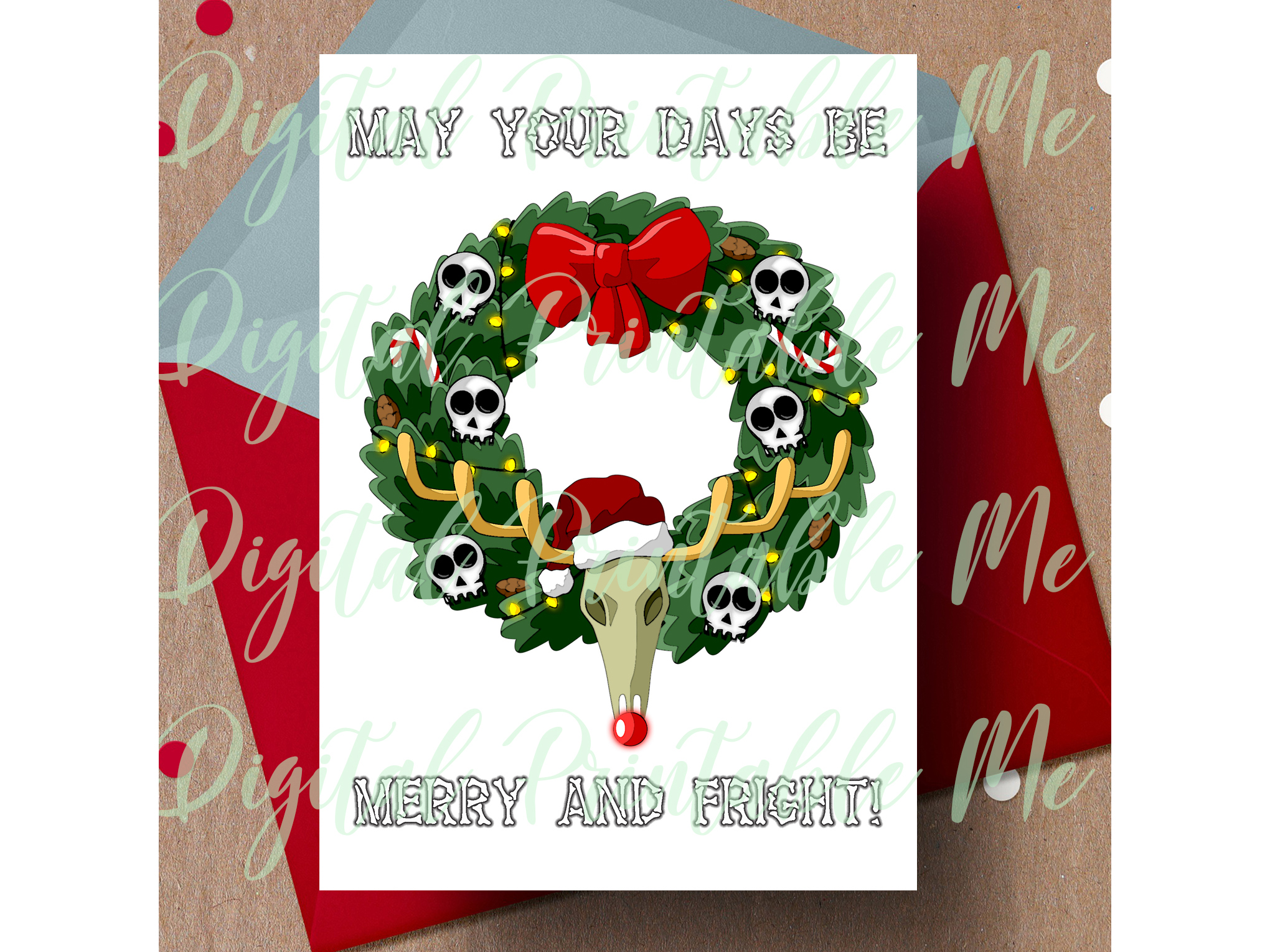 Download Free Merry Fright Christmas Xmas Gothic Card Graphic By for Cricut Explore, Silhouette and other cutting machines.