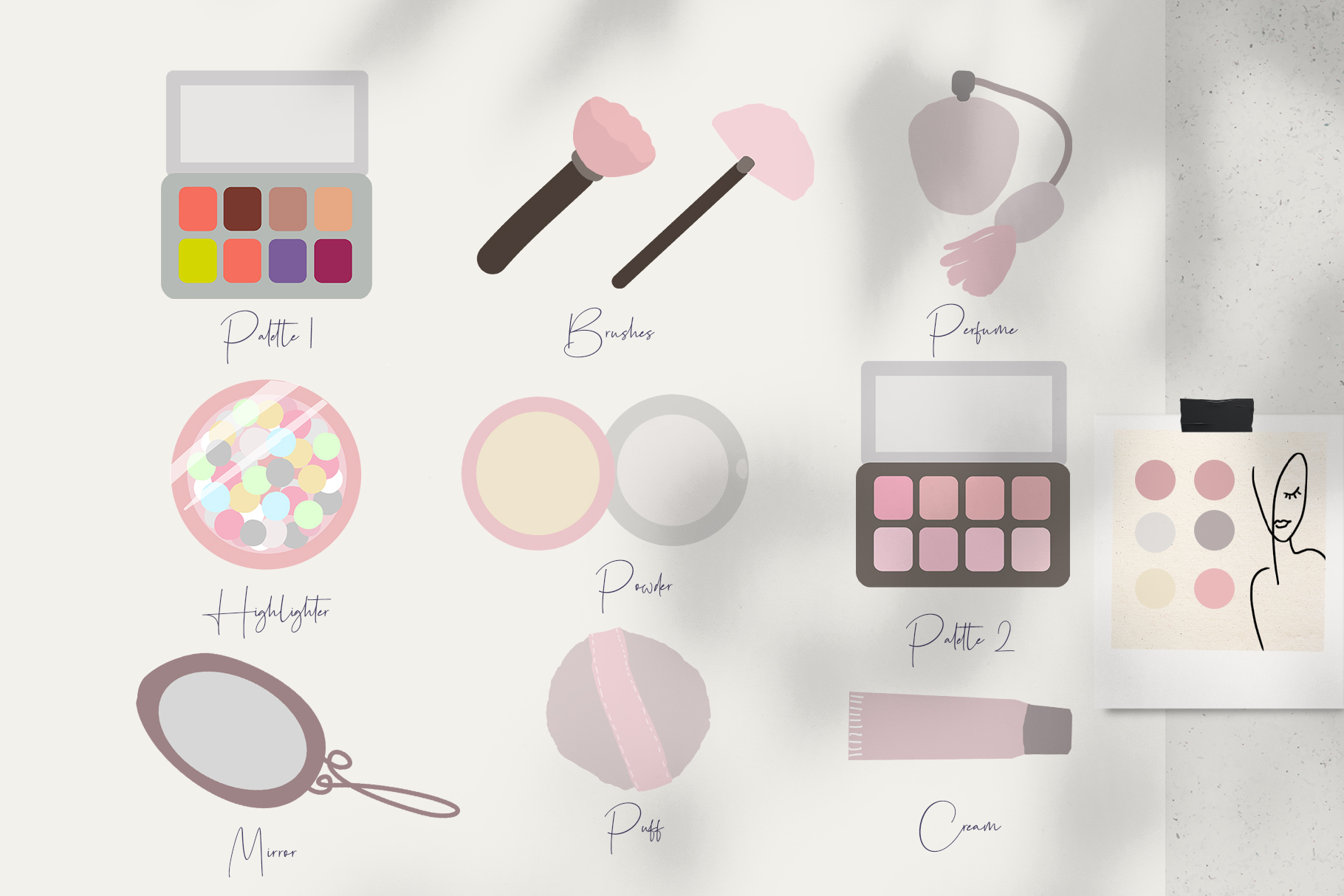 Download Free Minimalistic Flat Makeup Modern Items Grafik Von Kaleriiatv for Cricut Explore, Silhouette and other cutting machines.