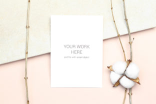 Download Free Mockup Card With Cotton Branch Graphic By Pawmockup Creative for Cricut Explore, Silhouette and other cutting machines.