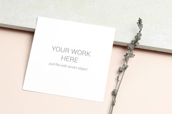 Print on Demand: Mockup  Card with Sprig of Lavender Graphic Product Mockups By PawMockup