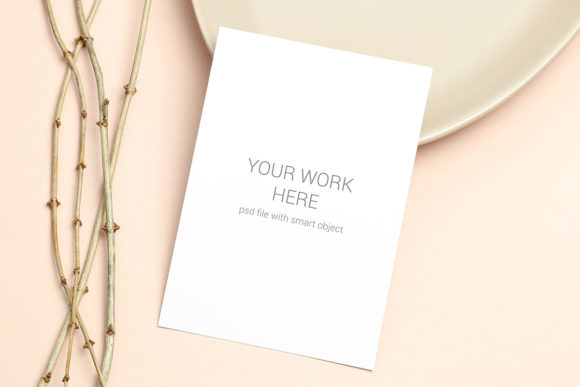 Print on Demand: Mockup Card with Wooden Branch Graphic Product Mockups By PawMockup
