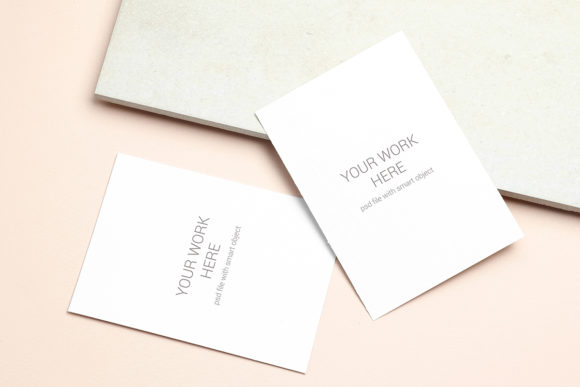 Print on Demand: Mockup Greeting Card on Beige Background Graphic Product Mockups By PawMockup