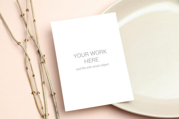 Mockup Greeting Card on Plate Graphic