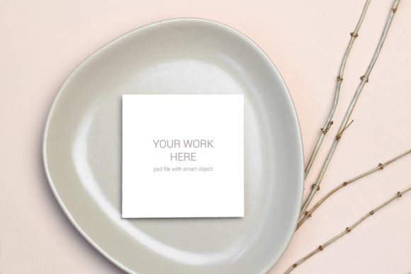 Download Free Mockup Greeting Card On Plate Graphic By Pawmockup Creative for Cricut Explore, Silhouette and other cutting machines.