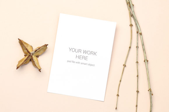 Print on Demand: Mockup Greeting Card with Wood Branch Graphic Product Mockups By PawMockup