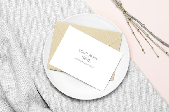 Download Free Mockup Postcard With Envelope And Plate Graphic By Pawmockup for Cricut Explore, Silhouette and other cutting machines.