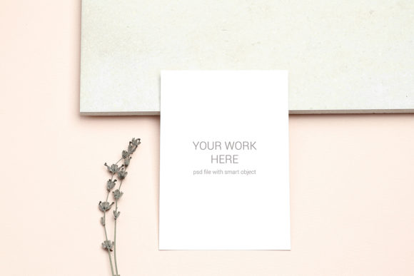 Print on Demand: Mockup Postcard with Sprig of Lavender Grafik Produktmodelle von PawMockup