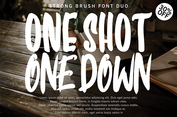 Print on Demand: One Shot One Down Display Font By missinklab