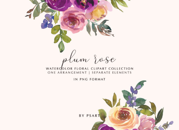Plum and Blush Watercolor Floral Clipart Graphic Illustrations By Patishop Art