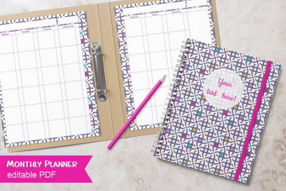 Print on Demand: Printable Undated Monthly Planner Pages Gráfico Plantillas para Impresión Por print.cut.hang