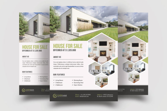 Print on Demand: Real Estate Flyer Template Graphic Print Templates By graphicidenic
