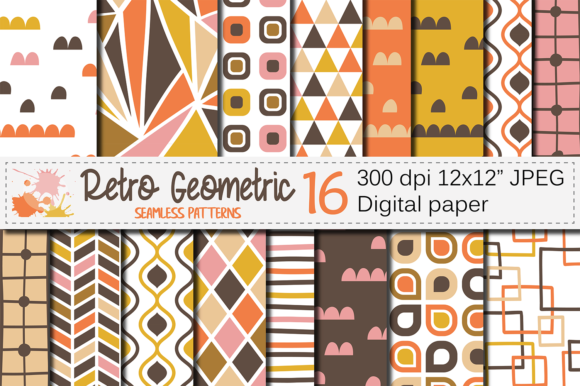 Retro Geometric Seamless Patterns Graphic By Vr Digital Design